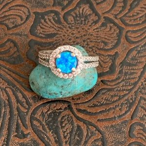 Sterling Silver Round Blue Opal Halo Ring